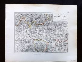 Alison & Johnston 1852 Battle Map of the Valley of the Po. Italy